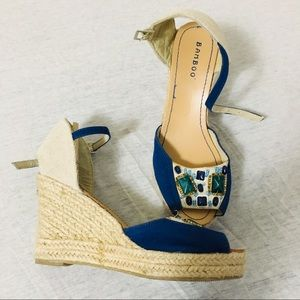 Bamboo Blue&Beige Wedge Sandal
